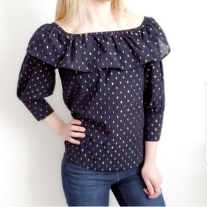 Eclair Navy Gold Dotted Ruffle Cold Shoulder Top